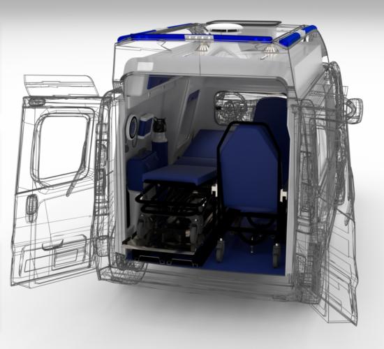 "<Font size=""5"">Zabudowa wnętrza ambulansu sanitarnego typu A</font><p><p><font size=""3"">Koncepcja, model 3D, dokumentacja 2D</font></p></p>"