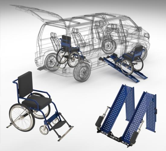 """<Font size=""""5"""">Automatyczne najazdy do wózka inwalidzkiego dla pojazdu do przewozu osób niepełnosprawnych</font><p><p><font size=""""3"""">Koncepcja, model 3D</font></p></p>"""