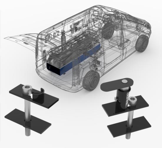 """<Font size=""""5"""">Zatrzaskowe mocowania do podstawy noszy ambulansu typu B</font><p><p><font size=""""3"""">Model 3D, dokumentacja wykonawcza 2D</font></p></p>"""